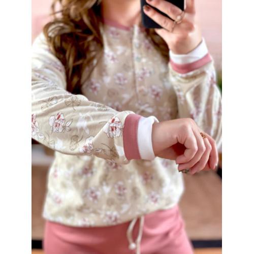 Pijama flores   Granate