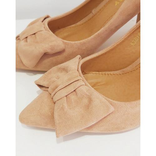 Zapato tacón lazo |Beige