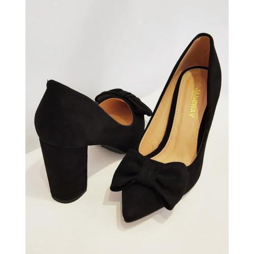 Zapato tacón lazo |Negro