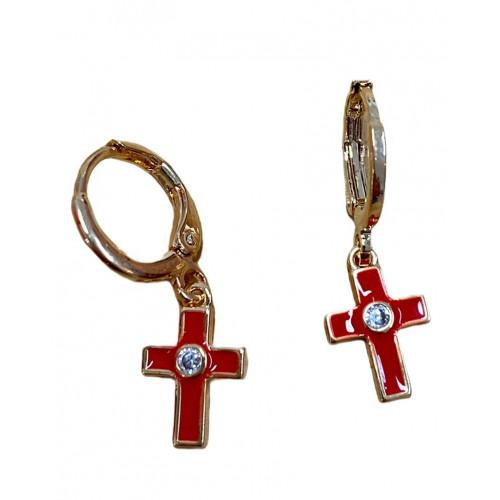 Pendiente cruz rojo